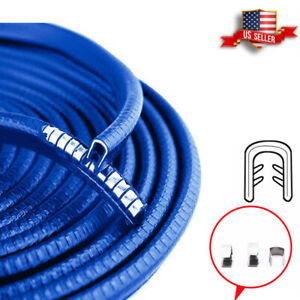 10 Feet Car Door Trim Edge Guard Moulding Blue Rubber metal Seal Strip Protector