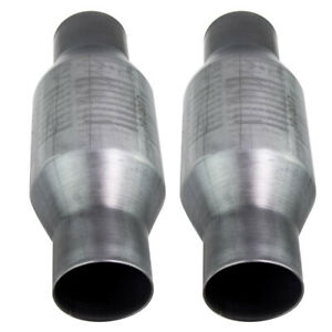 Two 410250 2 5 Inch Universal High Flow Performance Catalytic Converter New