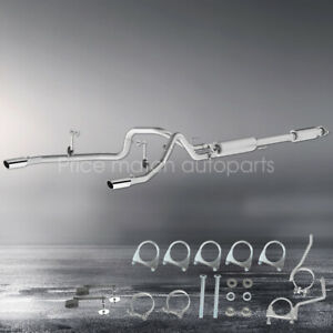 Stainless Steel Dual Split Rear Exit Cat Back Exhaust 15 2019 Ford F150 5 0l V8