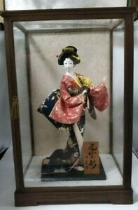 Vintage Japanese Geisha Doll In Kimono 17 On Wooden Base In Glass Case Antique