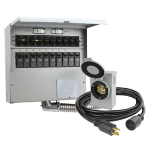 Manual Transfer Switch Kit 10 circuit 30 Amp With Generator Cord And Plugin Box