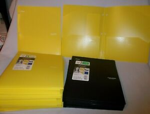 20 Mead Five Star Two Pocket Folder W stay put Tabs No Prongs 15 Yellow 5 Black