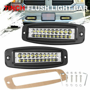 2x 7 Flush Mount Led Pods Work Light Bar Combo Driving Reverse Lamp Offroad 4wd