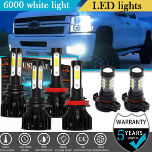 4 sides Led Headlight Fog Light Bulbs For Chevy Silverado 1500 2500 2007 2015