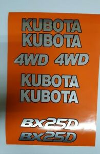Kubota Tractor Bx 25d Decals Backhoe Decal Kit Silver With Black Outline