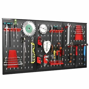 Wall Metal Peg Boards With 17 Hooks Mounting Tool Organiser Garage Storage Panel