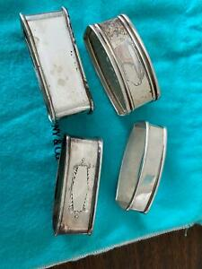 American Sterling Silver Napkin Rings Lot Of 4 Reed Barton Webster
