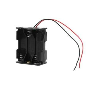 Clip Holder 6aa 2a Battery Storage 9v Power Box Case Wire Leads Black Cable
