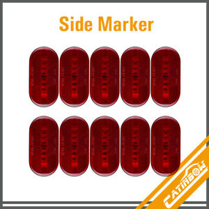 10pcs 4 X 2 Red Side Marker Clearance Light 6 Led Surface Mount Car Boat Rv