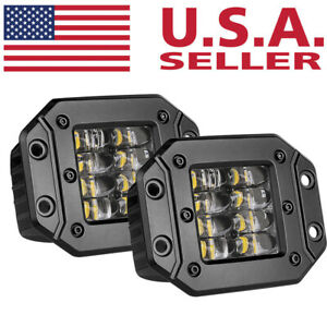 5 160w Flush Mount Led Light Bar Quad Row Spot Driving Fog Lamp Off Road 4wd
