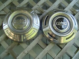 Two Vintage Ford 16 In Pickup Truck Dog Dish Center Cap Hubcaps Wheel Covers 3 4