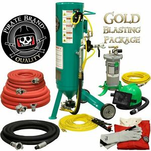 Clemco Style Sandblaster 1 Cu Ft Sand Pot Complete Gold Blasting Package