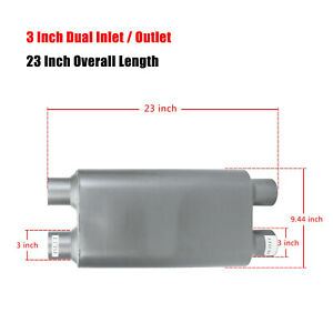 3 Dual Inlet Outlet 17 Oval Body Length 2 Chamber Race Exhaust Muffler