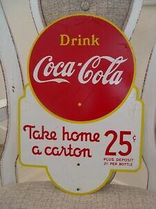 Vintage 2-Sided Coca-Cola 25 Cents Take Home A Carton Advertising Rack Sign