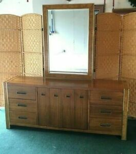 Mid Century Modern Mcm Dixie 9 Drawer Triple Dresser 731 235 With Mirror