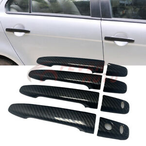 Fit 2008 2017 Mitsubishi Lancer Carbon Fiber Style Side Door Handle Covers Fm