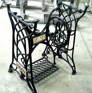 Vintage Gritzner Treadle Sewing Machine Cast Iron Base Table Legs Restored