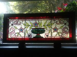 C 1890 S Victorian Leaded Jeweled Stained Glass Transom Window 46 X 19 Antique