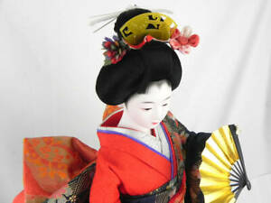 Traditional Japanese Geisha Doll In Kimono Silk On Wooden Base Signed 20 5 52cm
