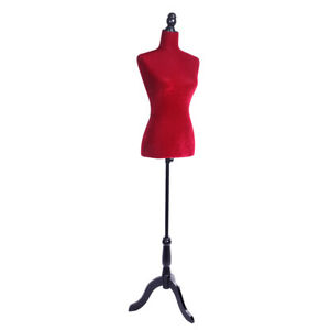 Female Mannequin Torso Dress Clothing Form Display Half Body W Tripod Stand Red
