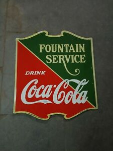 Porcelain Coca Cola Fountain service Enamel Sign Size 22.5