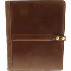 Steel Timber Leather Executive Tablet Folio In Brown