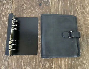 Franklin Covey Compact Unstructured Nappa Leather Planner Binder Black