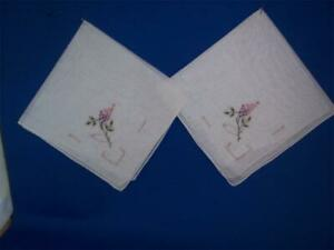 Vintage Handkerchiefs Two 2 Organza Flowers Lilac French Knots Drawnwork Vgc
