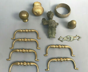 Lot Antique Victorian Solid Brass Handles Knobs Decoration For Door Or Fireplace