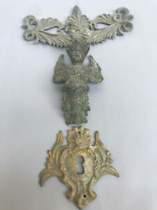 Antique French Victorian Three Solid Metal Decoration For Door Or Fireplace
