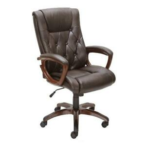 Heavy Duty Bonded Leather Office Rolling Computer Chair Hand Sculpted Arms Brown