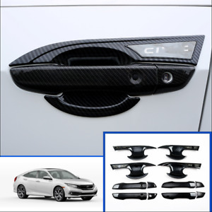 Door Handle Bowl Cover Trims Carbon Fiber Style For Honda Civic 10th 2016 2020