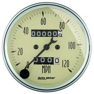 Autometer Antique Beige 3 1 8 Mechanical Speedometer 0 120 Mph Gauge