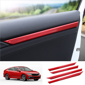 Red Stainless Steel Interior Door Decor Trim For Honda Civic 2016 2020