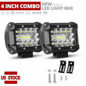 2x 4 Inch Cree Led Work Light Spot Flood Combo Fog Driving For Jeep Ford Offroad