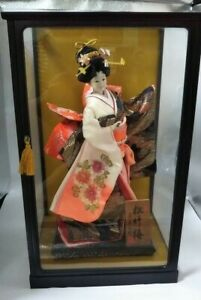 Vintage Japanese Geisha Doll In Kimono 17 43cm In Glass Case 21