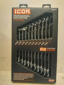 Icon 10pc Professional Long Reversible Ratcheting Wrench Set New Wrm 10