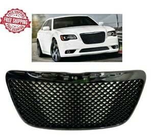 For 2011 2014 Chrysler 300 Front Grille Srt Style Gloss Black Mesh Hood Grill