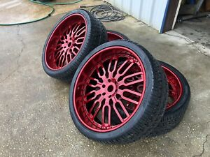 26 Inch Forgiato Rims 3 Piece New With New Tires Chevy Tahoe Escalade Suburban