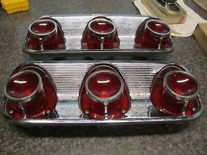 1961 Pontiac Bonneville Tail Light Rh Lh Bezels With Lens Rare Find Revised