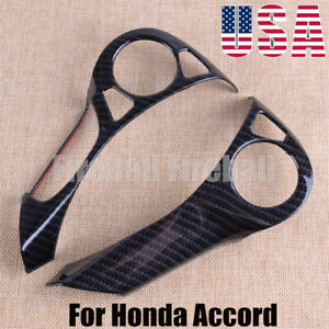 2x Abs Carbon Fiber Steering Wheel Cover Trim Fit For Honda Accord 2014 2017 Us