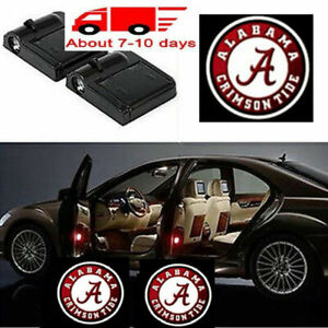2x Wireless Led Car Door Light Alabama Crimson Tide Logo Laser Projector Lamp
