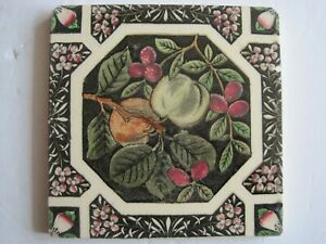Antique Victorian Print And Tint Tile Fruit C1884 Sherwin Cotton Patt 190