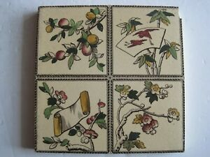 Antique Victorian Transfer Print Tile Japanesque Design Cranes Scroll