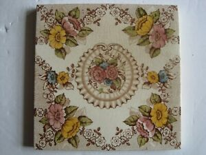 Antique Victorian Pilkington S 6 Print Tint Aesthetic Floral Tile Patt F554