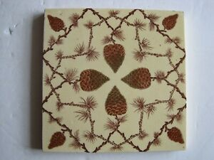 Antique Victorian Transfer Print Tint Tile Pine Cones Wedgwood