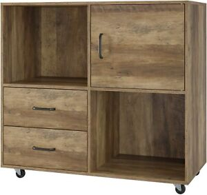 Mobile File Cabinet Lateral Filing Printer Stand Storage Cabinet With Wheels