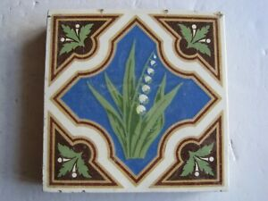 Antique Victorian Minton Glazed Encaustic Floor Tile Lily Of The Valley C1840