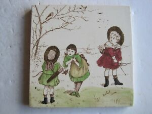 Antique Victorian T R Boote Rosebud Series Tile Children With Bows Arrows