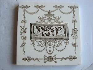 Antique Victorian 6 Wedgwood Classical Design Transfer Print Tile C1880 T279x